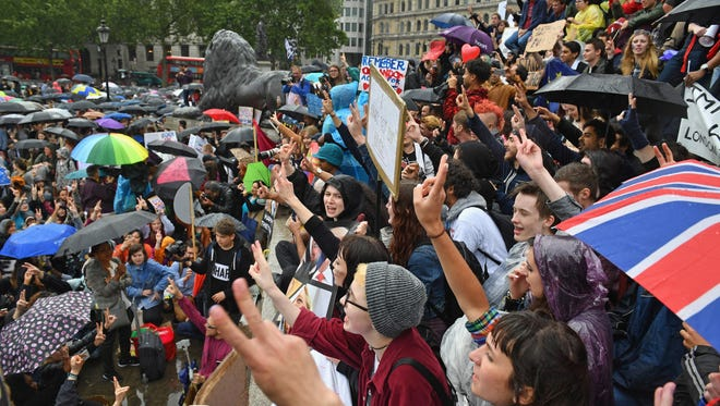 Protesters gather to demonstrate against the EU referendum result in London's Trafalgar Square on Tuesday, June 28, 2016.