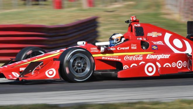 Indy Lights driver Felix Rosenqvist tests Scott Dixon's Indy car at Mid-Ohio on July 21.