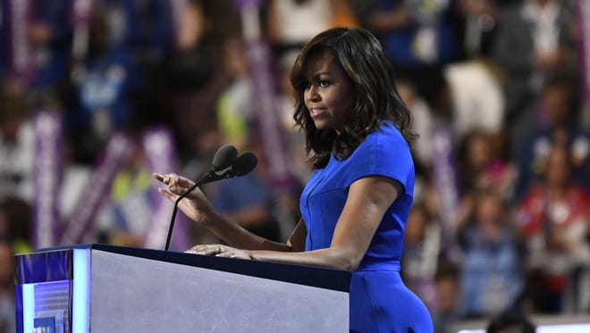 First lady Michelle Obama takes the stage during the Democratic National Convention in Philadelphia on July 25, 2016.
