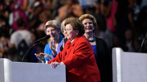 Sen. Barbara Mikulski, D-Md., flanked on the left by