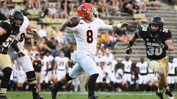 Sep 10, 2016; Boulder, CO, USA; Idaho State Bengals quarterback Tom Jewell (8) prepares to pass in the second half against the Colorado Buffaloes at Folsom Field. Colorado won 56-7.