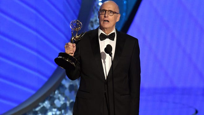 """Jeffrey Tambor called for Hollywood to """"give transgender talent a chance,"""" accepting the award for outstanding lead actor in a comedy series for 'Transparent.'"""
