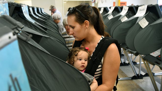 Melissa Harper, carrying her 7-month-old daughter Merritt, was among the early voters Thursday, Oct. 20, 2016, at the Downtown West polling location. An election official said that more than 500 people voted during the first hour Thursday morning.