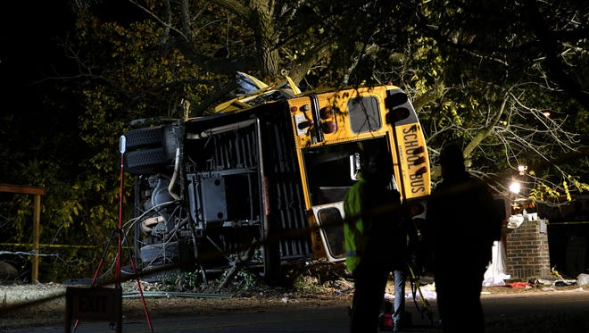 A bus carrying 35 children crashed into a tree in Chattanooga on Monday, killing multiple elementary school children. The Tennessee Highway Patrol was using lights and scanners to reconstruct the scene on Talley Road.