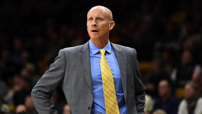 Xavier Musketeers head coach Chris Mack during the first half against the Colorado Buffaloes at the Coors Events Center.