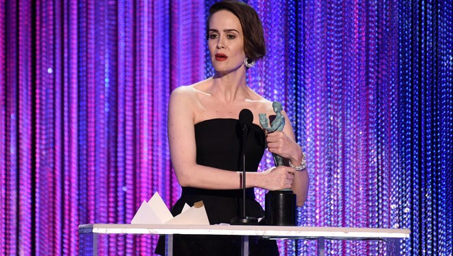 Sarah Paulson accepts the award for Outstanding Performance by a Female Actor in a Television Movie or Limited Series for her role as Marcia Clark in 'The People V. O.J. Simpson: American Crime Story.'