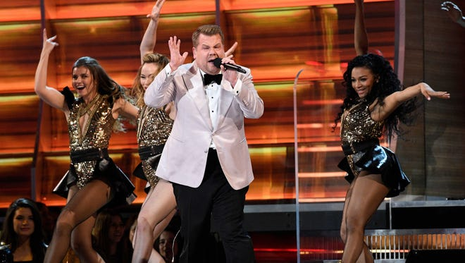 James Corden enters during the 59th Annual Grammy Awards at Staples Center..