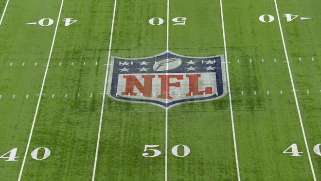 General overall view of NFL shield logo at midfield at NRG Stadium prior to Super Bowl LI. between the Atlanta Falcons and the New England Patriots.