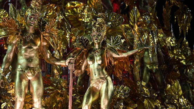Revellers of the Portela samba school perform on the second night of Rio's Carnival at the Sambadrome in Rio de Janeiro, Brazil, early on Feb. 28, 2017.
