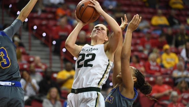 CSU's Elin Gustavsson had a double-double Tuesday in the Rams' win over San Jose State in the Mountain West tournament quarterfinals.