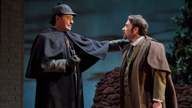 """Rafael Untalan, left, and Jacob James play Sherlock Holmes and Doctor Watson, respectively, in the Cincinnati Playhouse's production of """"Ken Ludwig's Baskerville: A Sherlock Holmes Mystery."""""""