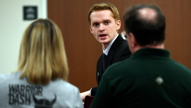 Ethan Andersen, an advocate for aid in dying, speaks to members of the Funeral Consumers Alliance of Northern NJ during an annual meeting held at the Parsippany-Troy Hills Public Library on Sunday, April 30, 2017.
