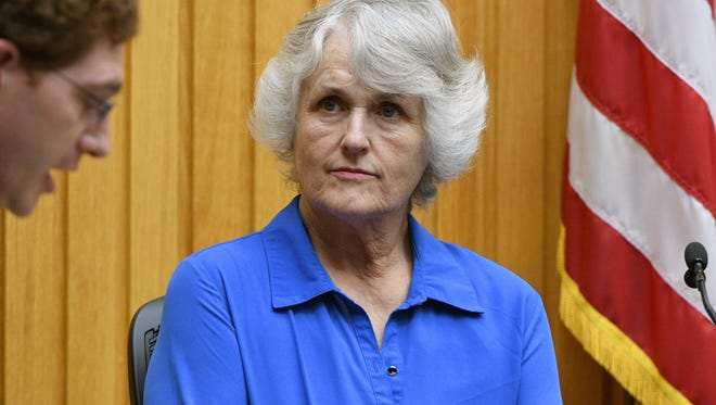 Raynella Dossett Leath in court Tuesday, May 9, 2017 answering questions from her attorney Joshua Headrick about whether or not she will testify in her own behalf. Leath faced an extraordinary third trial in Knox County Criminal Court on the same charge for which she was tried twice before — that she killed her second husband.
