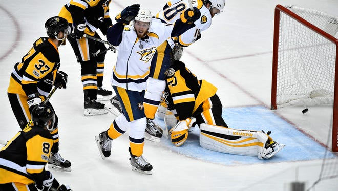 Nashville Predators center Colton Sissons (10) celebrates his goal during the third period of game 1 in the Stanley Cup Final at PPG Paints Arena  Monday, May 29, 2017, in Pittsburgh, Pa.