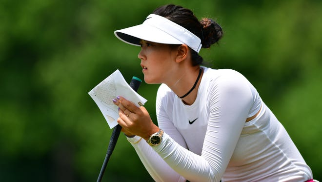 Michelle Wie looks on during the first round of the KPMG Women's PGA Championship golf tournament at Olympia Fields Country Club - North Course on June 29.