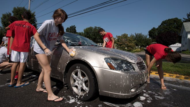 Car wash at Fair Lawn High School for injured Fair Lawn runner Joe Fernandez and his family on Saturday, August 26, 2017. Fernandez was seriously injured in an accident last week.