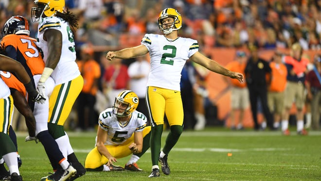 Aug 26, 2017; Denver, CO, USA; Green Bay Packers kicker Mason Crosby (2) react to missing a sixty one yard field goal attempt in the third quarter of a preseason game against the Denver Broncos at Sports Authority Field.