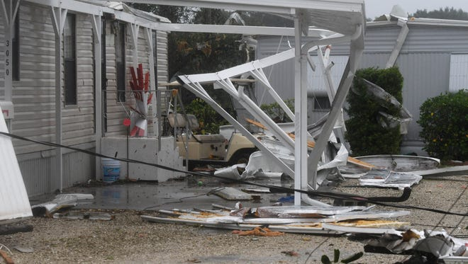 A tornado spawned by Hurricane Irma damaged six homes in the Palm Bay Estates mobile home park. Mandatory Credit: Craig Bailey/FLORIDA TODAY via USA TODAY NETWORK