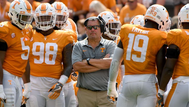 Tennessee defensive line coach Brady Hoke during the second half of their 17-13 win over  UMass Minutemen Saturday, Sep. 23, 2017 at Neyland Stadium in Knoxville, Tenn.