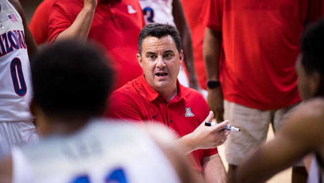 Sean Miller of the Arizona Wildcats talks to his players during the Arizona In Espana Foreign Tour game against the Mataro All-Stars on Aug. 16, 2017 in Barcelona, Spain.