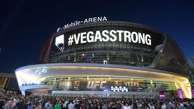 Oct 10, 2017: General exterior view of the T-Mobile Arena with the hashtag #VegasStrong on the marquee before the Vegas Golden Knights inaugural season first home game.