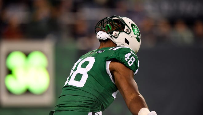 New York Jets outside linebacker Jordan Jenkins (48) celebrates a sack in the first quarter. The New York Jets are up 10-7 over the Buffalo Bills at the half on Thursday, November 2, 2017 in East Rutherford, NJ.