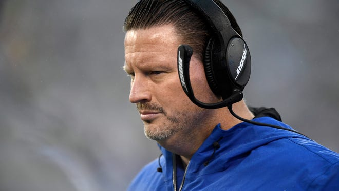 New York Giants head coach Ben McAdoo seen on the sideline in the second half. The Los Angeles Rams defeat the New York Giants 51-17 on Sunday, November 5, 2017 in East Rutherford, NJ.