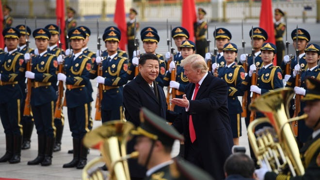 Presidents Trump and Xi Jinping at welcoming ceremony in China.