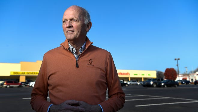 Tom Corcoran, co-owner of Madison Square Shopping Center stands in front of the center in Madison, Tenn., Wednesday, Nov. 29, 2017. A redevelopment of the Madison Square Shopping Center is part of a broader vision for the Madison area.