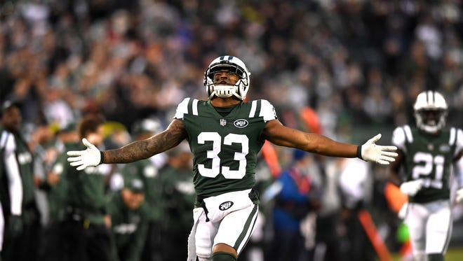 New York Jets strong safety Jamal Adams (33) reacts after breaking up a Kansas City pass in the fourth quarter. The New York Jets defeat the Kansas City Chiefs 38-31 in East Rutherford, NJ on Sunday, December 3, 2017.
