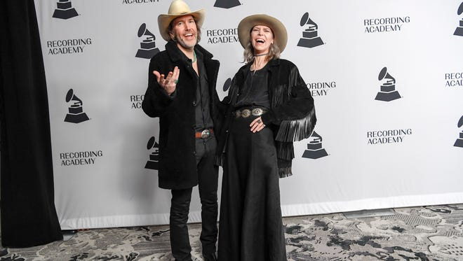 """David Rawlings and Gillian Welch walk the red carpet at Nashville's Grammy nominee party at Loews Vanderbilt Hotel in Nashville on Jan. 11, 2018. They are nominated for Best American Roots Song for """"Cumberland Gap."""""""