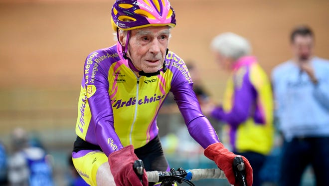 French centenarian cyclist Robert Marchand, 106, rides at the Saint-Quentin-en-Yvelines track cycling on Feb. 11, 2018.