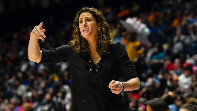 Vanderbilt coach Stephanie White is shown Wednesday in the second half of the Commodores' game against Arkansas in the SEC Women's Basketball Tournament at Bridgestone Arena.