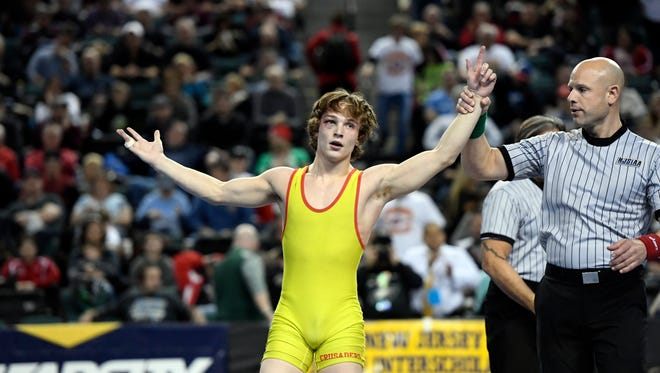 Robert Howard of Bergen Catholic wins the 120-pound title during the NJSIAA state wrestling championships in Atlantic City, NJ on Sunday, March 4, 2018.