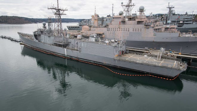 The decommissioned frigate USS Ford (FFG 54) is moored at Naval Base Kitsap-Bremerton.