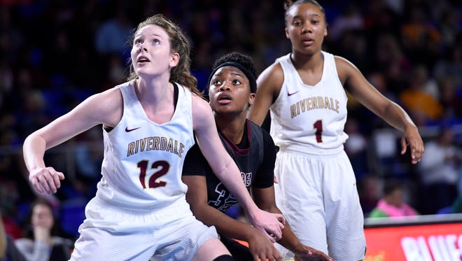 Bearden's Tytiaira Spikes (32) keeps her eyes open for a rebound during a TSSAA Class AAA  state semifinal girls basketball game between Bearden and Riverdale at Middle Tennessee State University in Murfreesboro, Tenn. Friday, March 9, 2018.