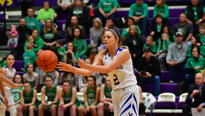 West Central senior Ashlyn Macdonald passes the ball during Saturday's Class A 3rd place game against McCook Central/Montrose.