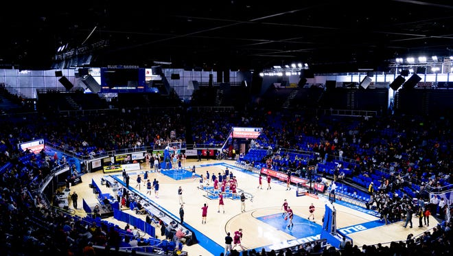 A general view of the arena at the TSSAA boys state basketball championships at the Murphy Center in Murfreesboro, Tennessee on Wednesday, March 14, 2018.