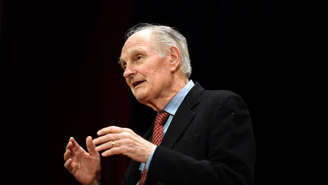 "Actor and Leonia resident Alan Alda speaks on his new book, ""If I understood you, would I have this look on my face?"" during the annual premier speaker event at the Kaplen JCC on the Palisades in Tenafly, NJ on Sunday, April 15, 2018."