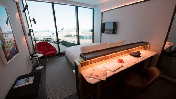 The TWA Hotel's rooms will feature floor-to-ceiling windows and views of either the airfield or the TWA Flight Center building.