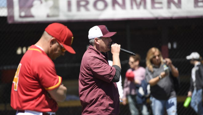 Don Bosco Prep baseball head coach Mike Rooney, right, describes how he and Bergen Catholic head coach Bob Muggeo, left, decided to help out Challenger District 6 baseball, which serves players with mental and physical disabilities.