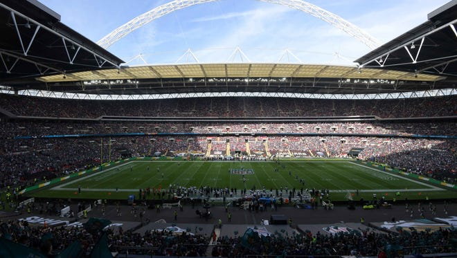A view of the NFL International Series game between the Jacksonville Jaguars and the Baltimore Ravens at Wembley Stadium in September 2017.