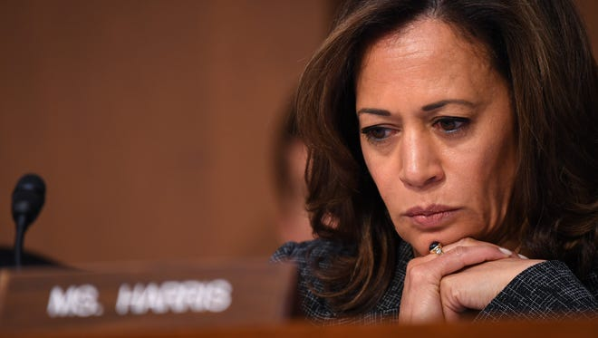 Sen. Kamala Harris, D-Calif., asking questions as Gina Haspel testifies in front of the U.S. Senate Select Committee on Intelligence during her confirmation hearing on May 9, 2018, in Washington, D.C.