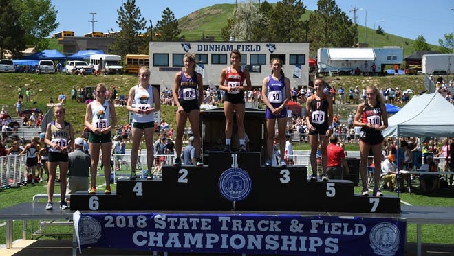 Podium for State A girls 1600.