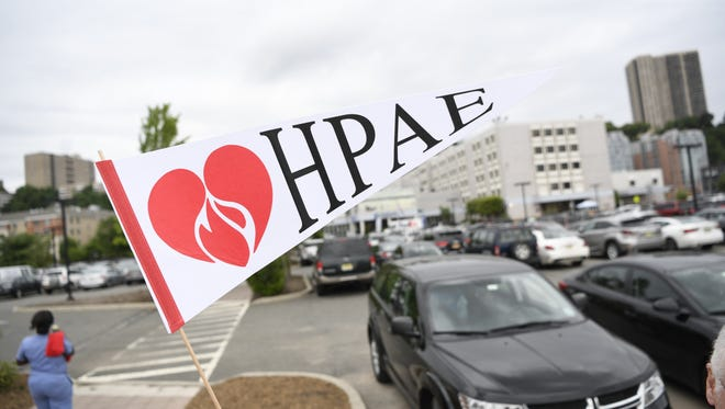 Members of the Health Professional and Allied Employees (HPAE) union held informational pickets outside of HMH Palisades Medical Center on Wednesday, Aug. 15, 2018. The HPAE have raised concerns of nurse-to-patient ratios among other issues with their contracts, which have expired.