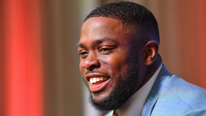 Jul 18, 2018; Atlanta, GA, USA; Mississippi State Bulldogs defensive end Gerri Green talks to the media members during SEC football media day at the College Football Hall of Fame. Mandatory Credit: Dale Zanine-USA TODAY Sports