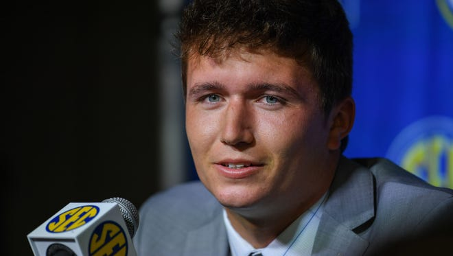 Missouri Tigers quarterback Drew Lock answers questions from reporters during SEC football media day at the College Football Hall of Fame in Atlanta, Ga. on Wednesday, July 18, 2018.
