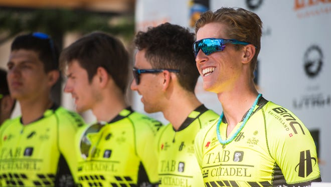 "Taylor ""TJ"" Eisenhart, the only athlete from Utah competing, smiles during the Tour of Utah kickoff party in Cedar City on Saturday, August 4, 2018. The tour will start with time trials in St. George on Monday."