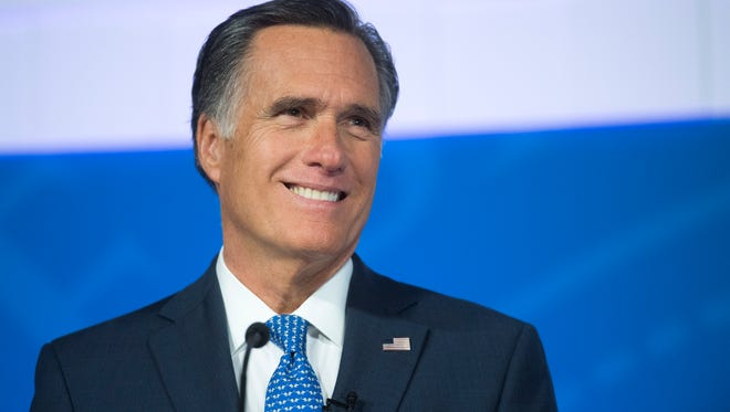 U.S. Senate candidate Mitt Romney (R) during the debate against Jenny Wilson (D) in the America First Event Center in Cedar City Tuesday, October 9, 2018.