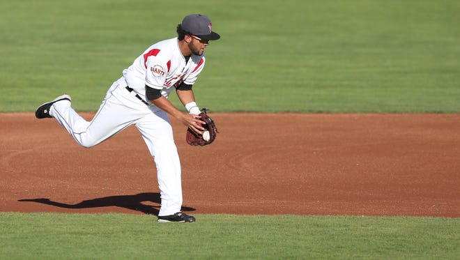 Salem-Keizer's Kevin Rivera and the Volcanoes take on the Boise Hawks during a game on Tuesday, July 19, 2016, at Volcanoes Stadium in Keizer.